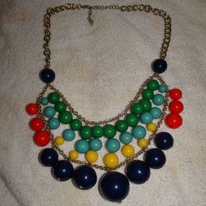 Multicolored Beaded Statement Necklace